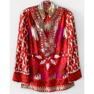 Tory Burch Tops - Tory Burch Iveta Tunic in Red Volcano